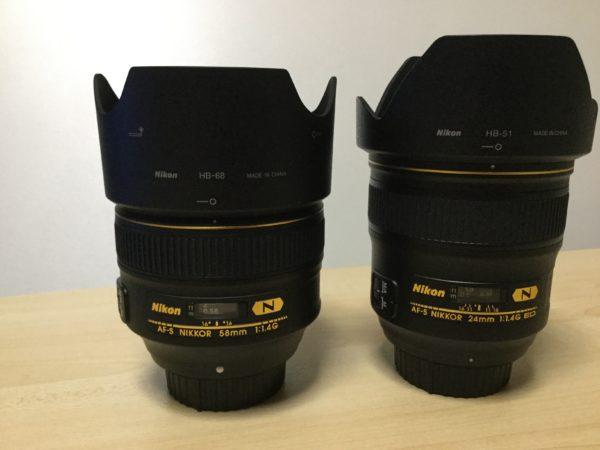 ニコン単焦点レンズ f1.4しりーずの2本