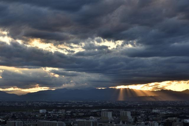 夕焼け、AF-S Nikkor 58mm f/1.4Gで撮影