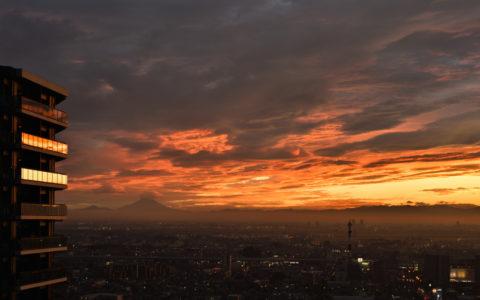 さいたま市の夕焼け、AF-S Nikkor 24-70mm f/2.8E ED VR