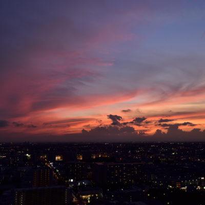 2017/09/13の夕日、AF-S Nikkor 24mm f/1.4G EDで撮影