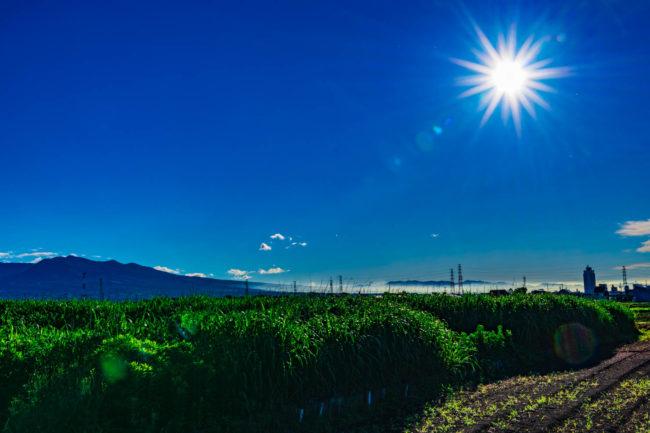 赤城山と太陽